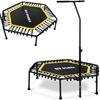 Trampolina fitness do ćwiczeń z regulowanym uchwytem 124 cm czarno-żółta