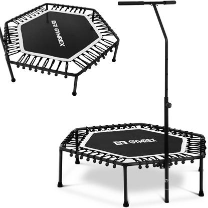 Trampolina fitness do ćwiczeń z regulowanym uchwytem 124 cm czarno-biała