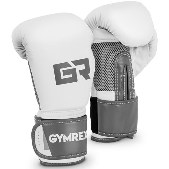 Rękawice bokserskie treningowe 8 oz biało-szare
