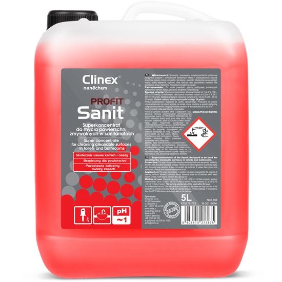 Silny koncentrat do mycia sanitariatów glazury wanien muszli pisuarów umywalek CLINEX PROFIT Sanit 5L