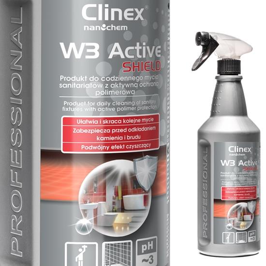 Preparat do mycia łazienki ubikacji usuwa rdzę kamień osady z mydła CLINEX W3 Active SHIELD 1L