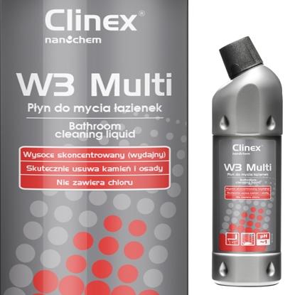 Doskonały płyn do mycia łazienek urządzeń sanitarnych fug CLINEX W3 Multi 1L