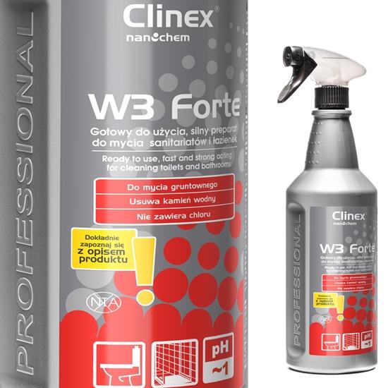 Środek do mycia muszli klozetowych pisuarów umywalek likwiduje zapachy urynowe CLINEX W3 Forte 1L