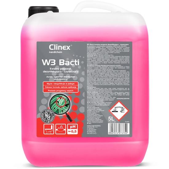 Płyn bakteriobójczy do dezynfekcji i odgrzybiania łazieniek i urządzeń sanitarnych CLINEX W3 Bacti 5L