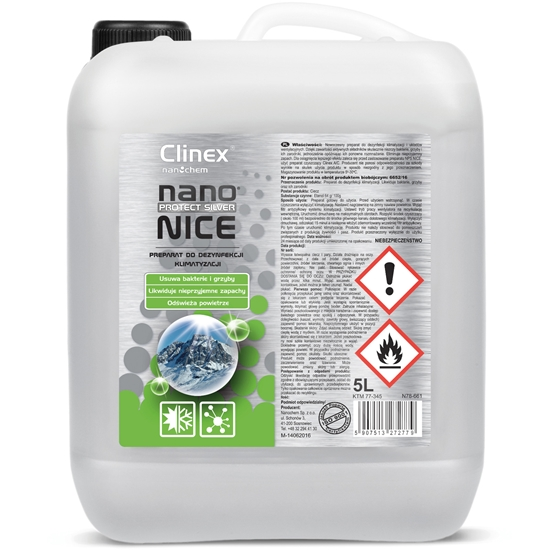 Płyn środek do dezynfekcji odgrzybiania klimatyzacji i wentylacji CLINEX Nano Protect Silver Nice 5L