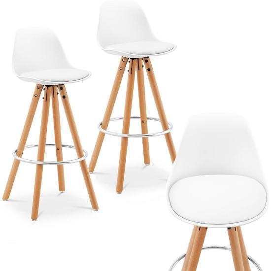 Hoker stołek krzesło barowe tapicerowane 2 szt. białe