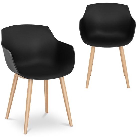 Krzesło kubełkowe skandynawskie plastikowe nowoczesne do 150 kg 2 szt. czarne