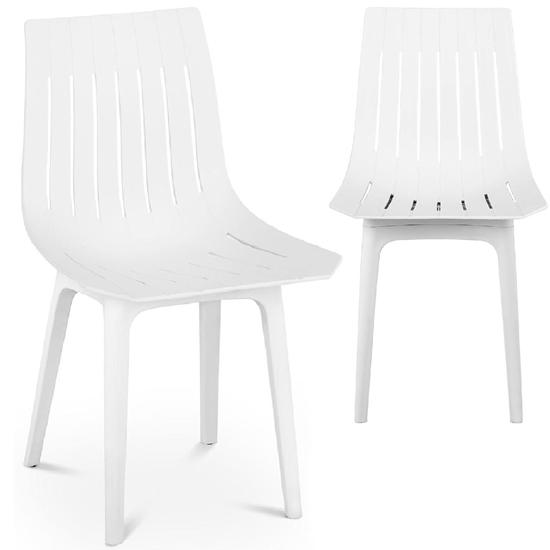 Krzesło plastikowe nowoczesne do domu biura do 150 kg 2 szt. białe