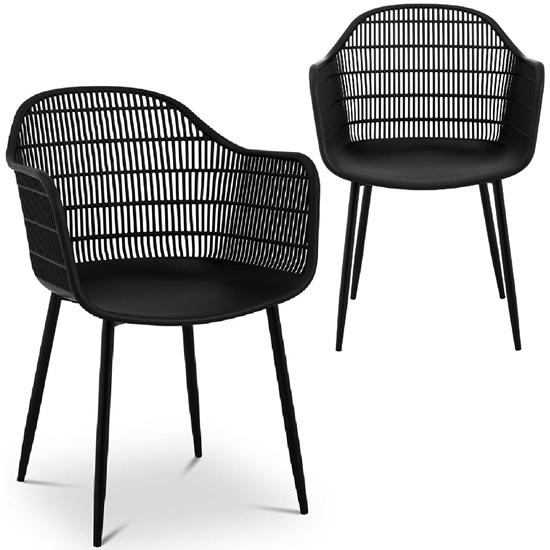 Krzesło kubełkowe ażurowe do domu restauracji do 150 kg 2 szt. czarne