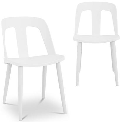 Krzesło plastikowe nowoczesne ze stalowymi nogami do 150 kg 2 szt. białe