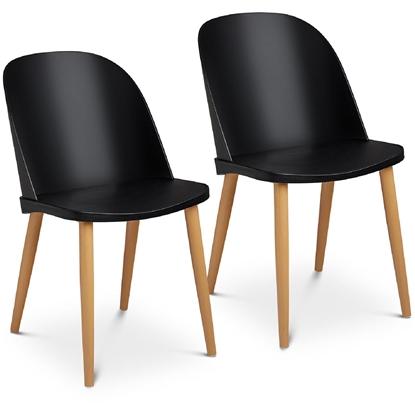 Krzesło skandynawskie plastikowe nowoczesne do 150 kg 2 szt. czarne