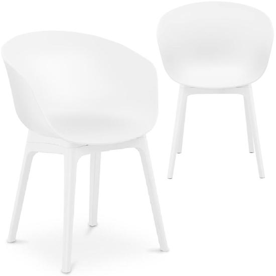 Krzesło kubełkowe skandynawskie plastikowe do 150 kg 2 szt. białe