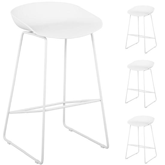 Stołek taboret nowoczesny plastikowy ze stalowymi nogami do 150 kg 4 szt. biały
