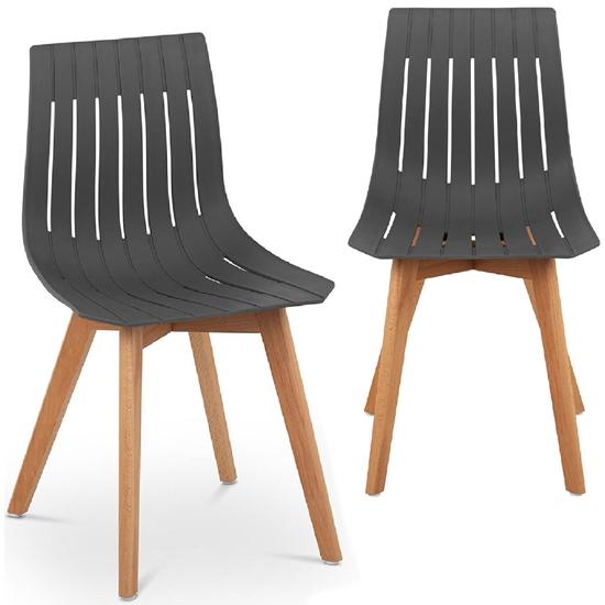Krzesło plastikowe z drewnianymi nogami do domu gabinetu do 150 kg 2 szt. szare