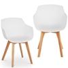 Krzesło kubełkowe skandynawskie plastikowe z drewnianymi nogami do 150 kg 2 szt. białe