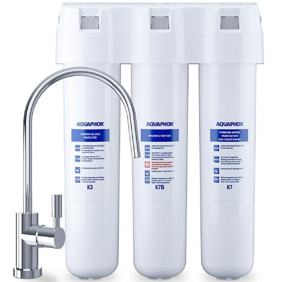 Filtr podzlewowy do uzdatniania wody z kranem K3 K7B K7 - zestaw 3 szt.