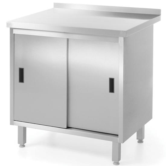 Stół blat roboczy kuchenny z szafką stalowy drzwi suwane 100x60cm - Hendi 811658