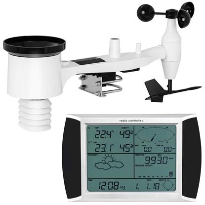 Bezprzewodowa stacja meteorologiczna pogodowa solarna 11 zjawisk LCD USB 100m