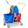 Wózek do mycia podłóg z wyciskarką prasą do mopa płaskiego dwa wiadra 2 x 20 l