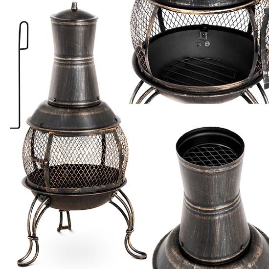 Ogrzewacz palenisko kominek na taras do ogrodu stalowy 360 wys. 90 cm