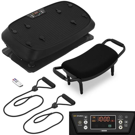 Platforma mata wibracyjna do ćwiczeń fitness z siedziskiem i linkami do 120 kg