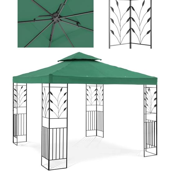 Pawilon ogrodowy altana z ornamentem składana 3 x 3 x 2.6 m zielony