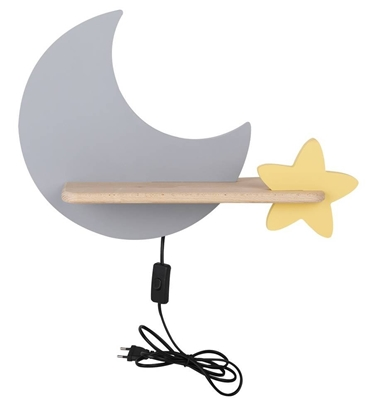 Moon Lampa Kinkiet Ścienny 5W LED IQ KIDS z przewodem z wł. i wtyczką szary+złoty