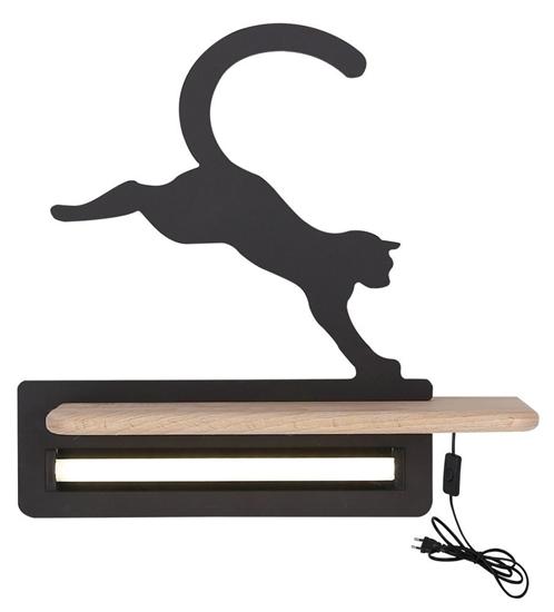 Lampka kinkiet półeczka LED 5W Cat Kids czarny Candellux 21-84439