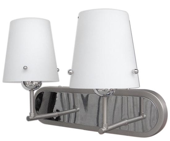 Kinkiet podwójny chrom/satyna klosz biały szklany 2x60W E27 Tango Candellux 22-57245
