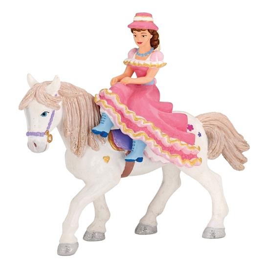 Papo 39074 Dama w kapeluszu na koniu  14,5x6x13,5cm