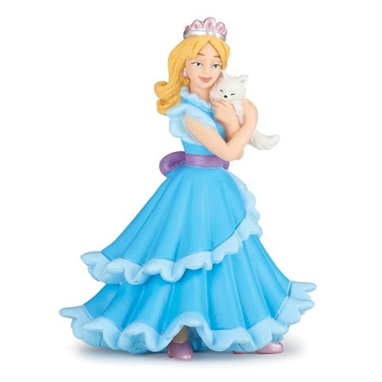 Papo 39125 Niebieska księżniczka z kotem  7,4x6,6x10cm
