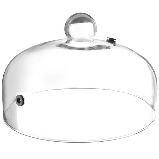 Kopułka szklana szeroka do wędzenia potraw na talerzu z otworem śr. 260 mm - Hendi 199664