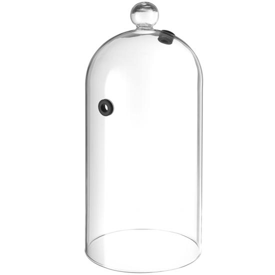Kopułka szklana podłużna do wędzenia potraw na talerzu z otworem śr. 130 mm - Hendi 199657
