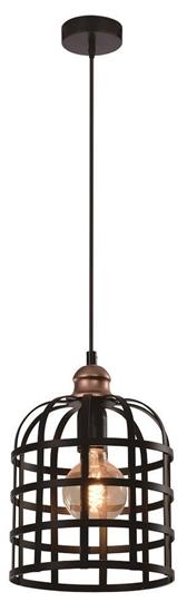 Lampa wisząca czarna/miedziana metalowa 40W E27 Soleto 31-78452