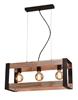 Lampa wisząca czarna metalowa + drewno 3x40W E27 Varna 33-79077
