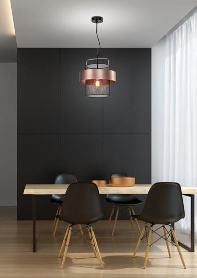 Lampa wisząca czarna/miedziana metalowy koszyk 40W E27 Fiba 31-78490