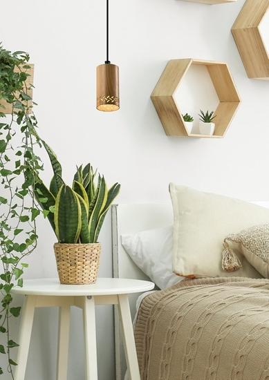 Lampa wisząca drewniana oprawa 25W GU10 10cm Tubo 31-78568