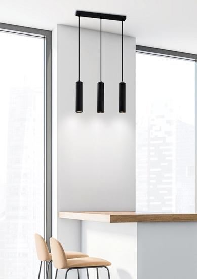 Lampa wisząca czarna potrójna oprawa 3x25W GU10 Tubo 33-79091