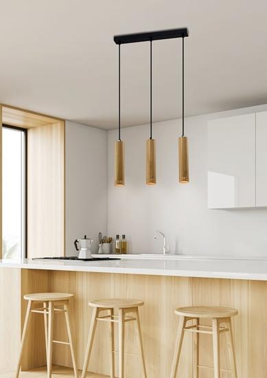 Lampa wisząca czarna/drewniana oprawa 3x25W Tubo 33-79138