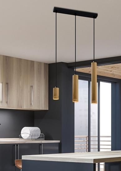 Lampa wisząca czarna/drewniana oprawa 3x25W Tubo 33-79114