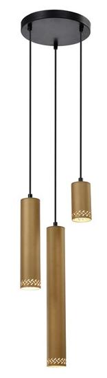 Lampa wisząca czarna/drewniana talerz 3x25W Tubo 33-79121