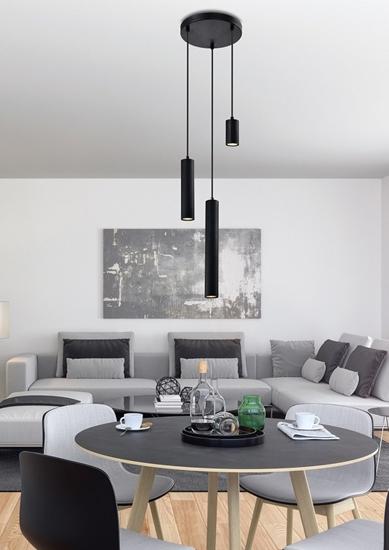 Lampa wisząca czarna talerz 3x25W Tubo 33-79084