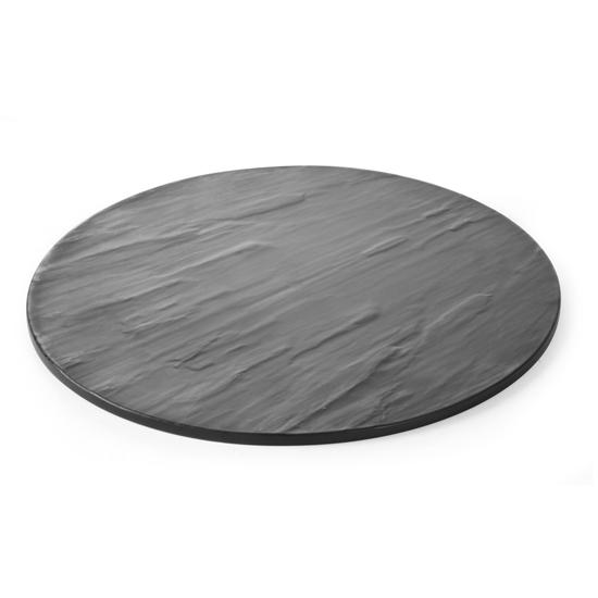 Płyta do serwowania dań imitacja łupka melamina śr. 430mm - Hendi 561416