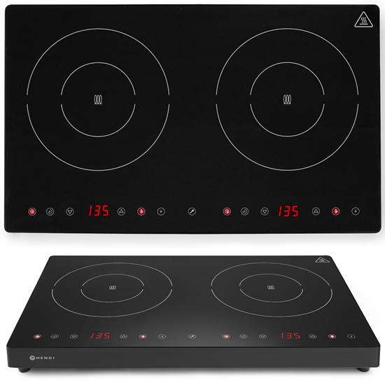 Kuchenka indukcyjna nastawna z panelem dotykowym 2 pola grzewcze Black Line śr. 23 cm 3500 W - Hendi 239414