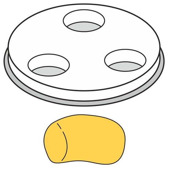 Końcówka do wyrobu makaronu GNOCCHI grube pełne rurki 1 otwór śr. 13 mm MPF2.5/4 - Hendi 229415