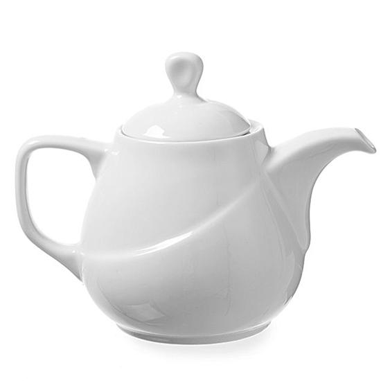 Dzbanek imbryk z białej porcelany do zaprzania herbaty EXCLUSIV 0.8L zestaw 6szt. - Hendi 328415