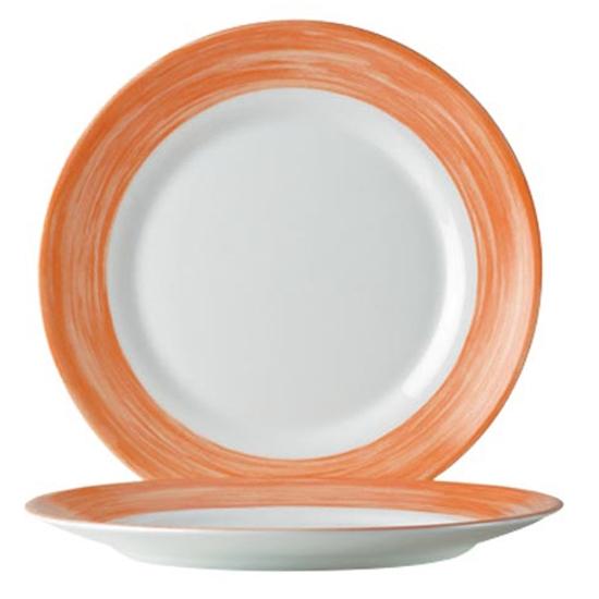 Talerze płytkie deserowe wytrzymałe pomarańczowe Brush śr. 195mm 6 szt. Hendi 49138
