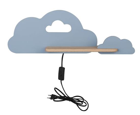 Kinkiet LED 5W dla dziecka niebieska chmurka z półką Cloud 21-75710