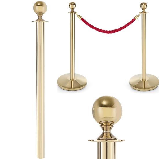 Słupek odgradzający stalowy złoty bez podstawy wys. 93cm - Hendi 810439