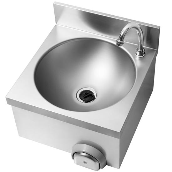 Umywalka bezdotykowa z włącznikiem kolanowym do montażu na ścianę okrągła śr. 34 cm - Hendi 809969